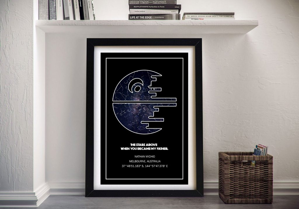 Death Star Star Wars Personalised Map Art